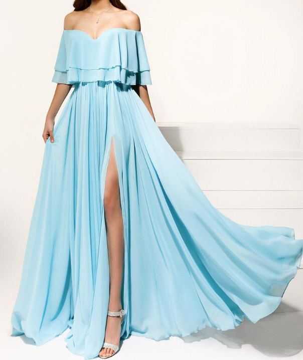 High Quality Chiffon Off-the-shoulder Neckline A-line Prom Dresses With Pleats