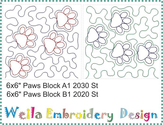 "Paws quilt block 6x6""  Machine Embroidery Design Animals Patterns baby blanket"