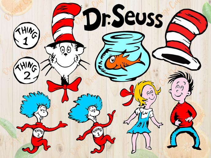 Dr Seuss svg files, Dr seuss cut files, clipart, eps vectors, dxf files for