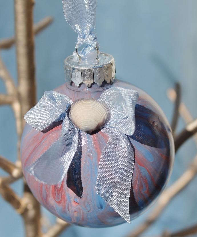 Fluid Painted Beach Theme Christmas Ornaments - Set of 5