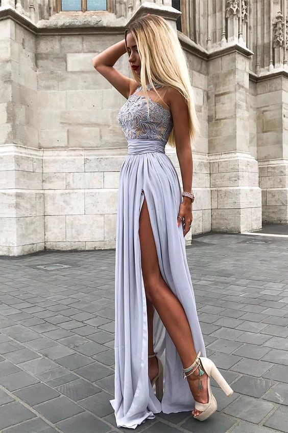 679d2d3ca5c Fancy Grey Sleeveless Split Prom Party Dress with by RosyProm on