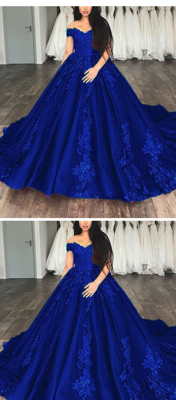 14781f7c7c90 Royal Blue Ball gown Lace Wedding Dresses Prom Reception Party Gown