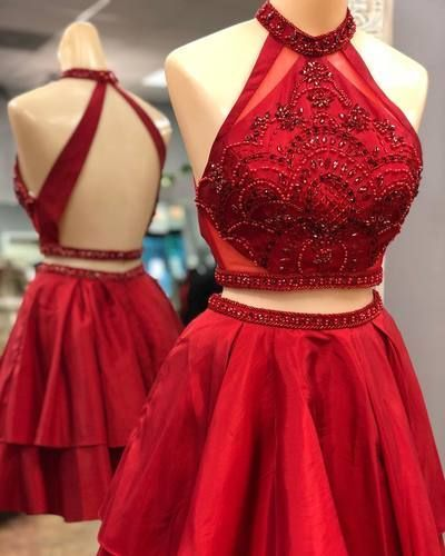 2018 Red High Neck Beaded Homecoming Dress, Above Length Short Prom Dress, Girls