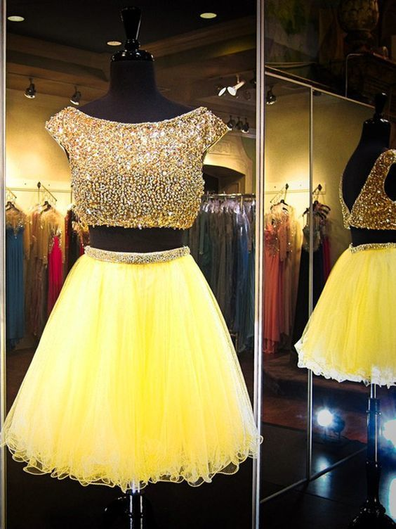 Luxury Beaded Crystal Two Pieces Short Prom Dress Ball Gowns Yellow Tulle