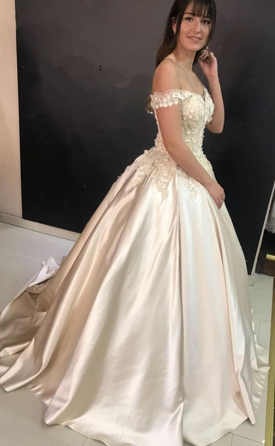 5cf6e04b87b Charming Off the Shoulder Ball Gown Prom Dress with Appliques Long Evening  Gown