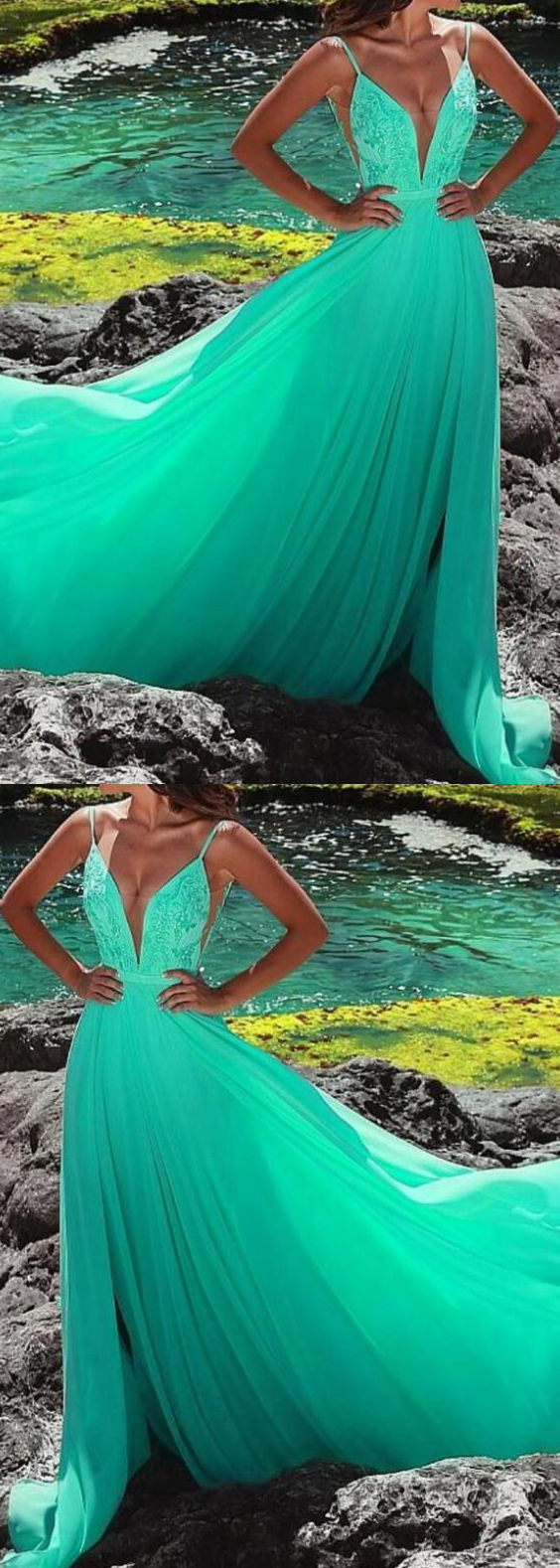 Green Sexy V-Neck Lace Formal Evening Dress A Line Women Prom Gowns ,PLus Size