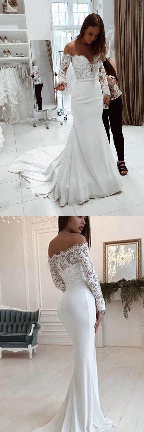 Long Sleeves Off the Shoulder Mermaid Bridal Long Wedding Dresses