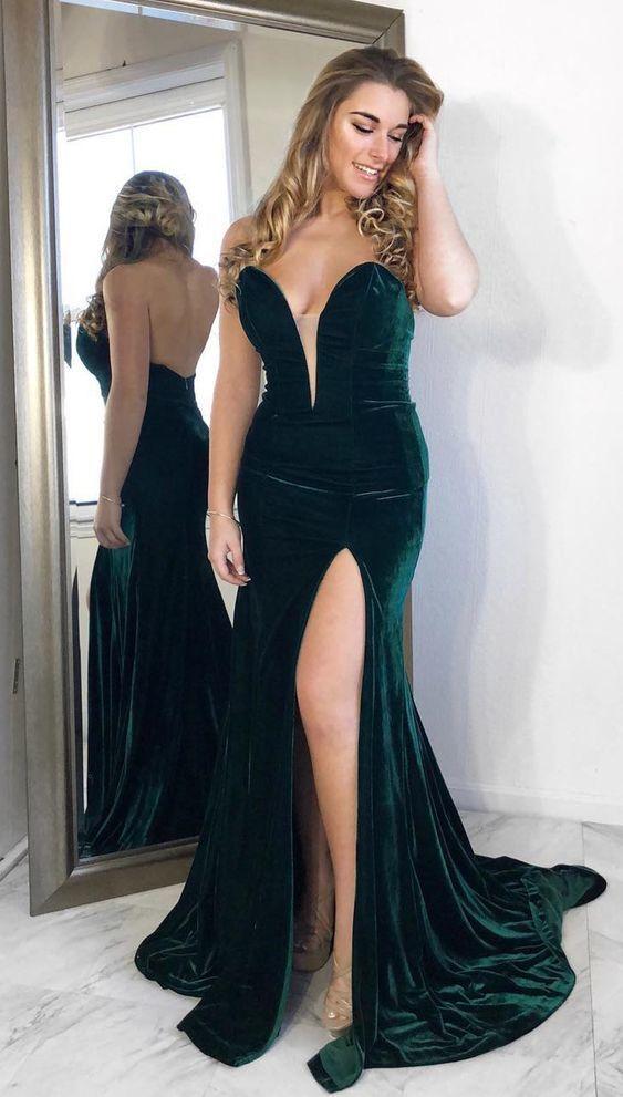 2235d1f484a Mermaid Dark Green Velvet Long Prom Formal Dress by RosyProm on Zibbet