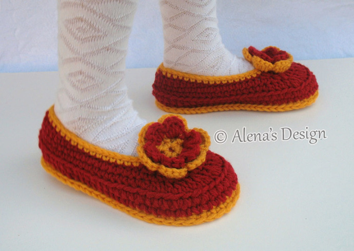 Crochet Pattern 068 Children's Slippers Flower Slippers Pattern Shoes Girl Boy