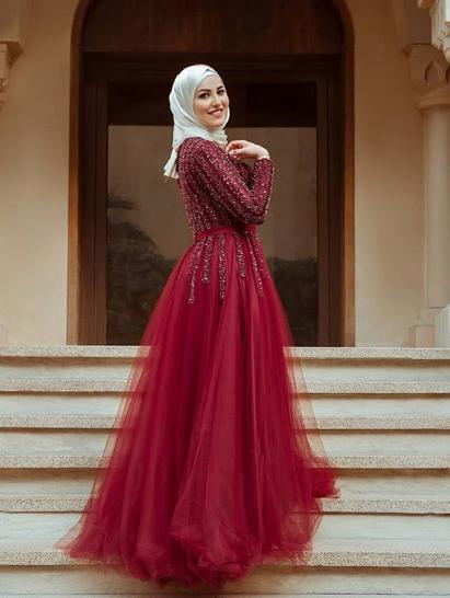 Dubai Style Long Sleeve Burgundy Prom Dress, long prom dress, evening dress,prom