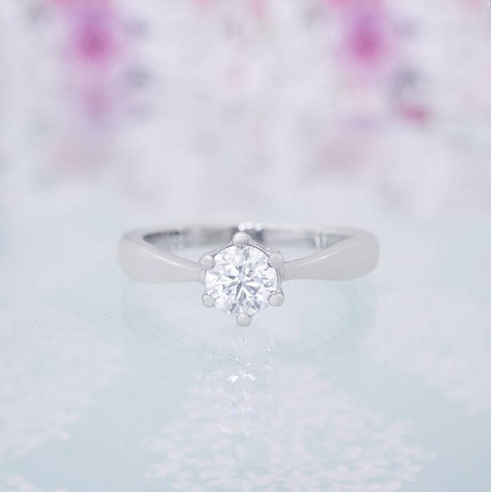 Classic Solitaire Engagement Ring with a Half Carat Diamond, High Quality Gold