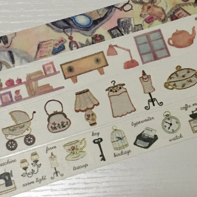 4 Rollsl Limited Edition Washi Tape: Retro Memory Home Items