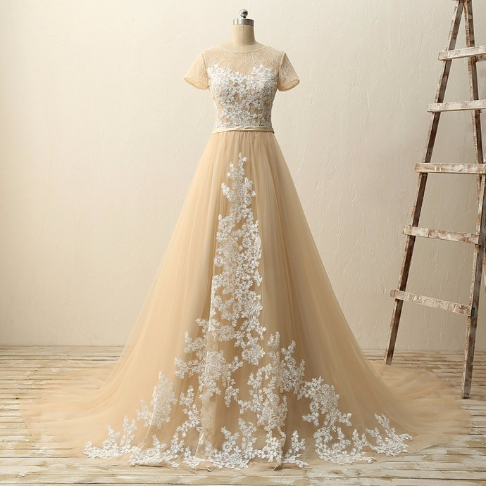 Champagne Tulle Long Prom Dress With Short Sleeve White Lace Women Party Gowns