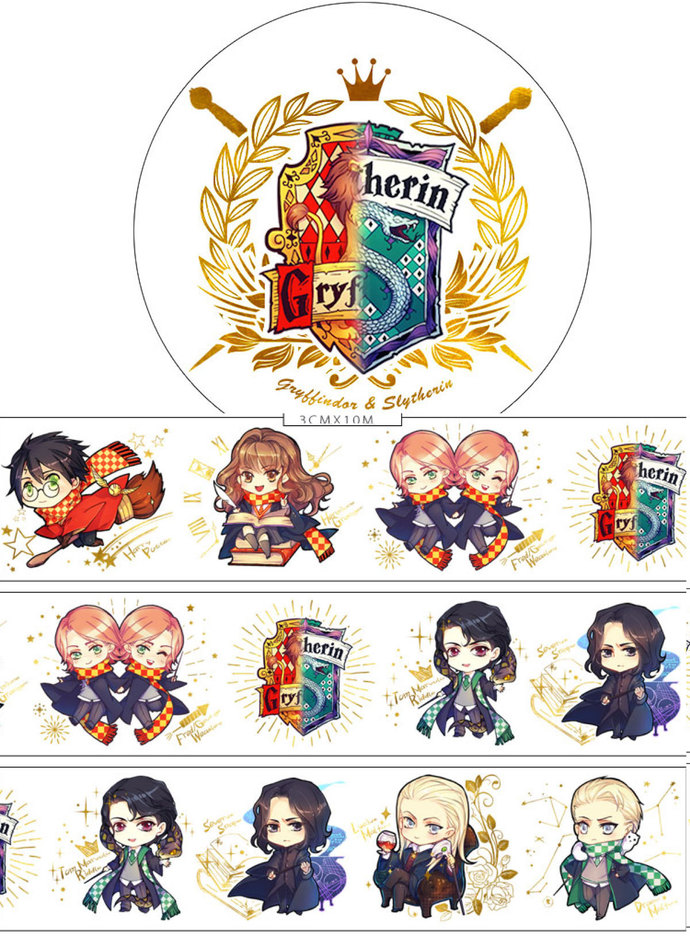 1 Roll Limited Edition Gold Foiled Washi Tape: Harry Potter's House of