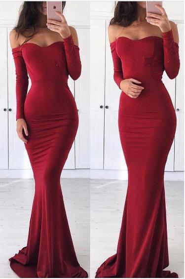 Mermaid Long Sleeves Burgundy prom Dress