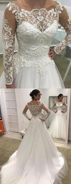 Vintage Long Sleeve Appliques A Line Wedding Dresses