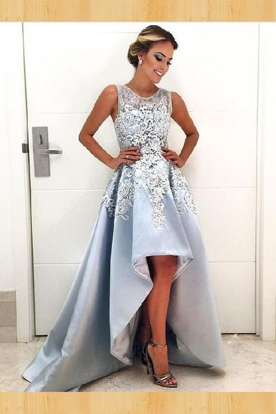 Light Blue Lace Prom Dress 19b8cd478