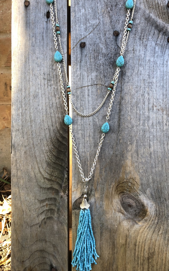 Long Layered Turquoise Necklace