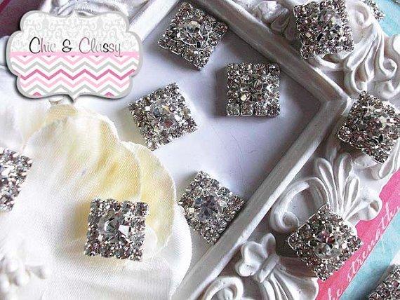 Rhinestone embellishments, 5 or 10 piece set, wedding diy invitation, diy