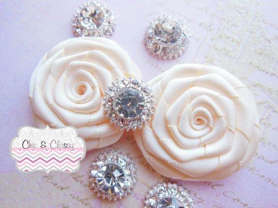 2 or 5 Rhinestone Embellishments Cabachons for Wedding supplies, diy hair
