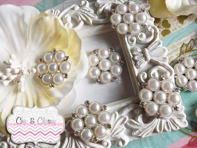 Flat Back Rhinestone Pearl Embellishment 2 OR 5pc 24mm for scrapbook, jewelry,