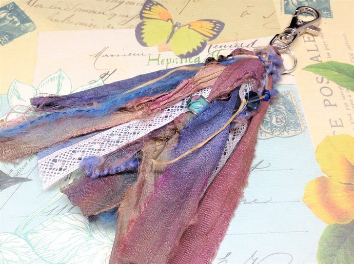 "Boho Gypsy SANDSTONE Beaded Purse Charm 6""   Art Journal Charm   Planner Charm"