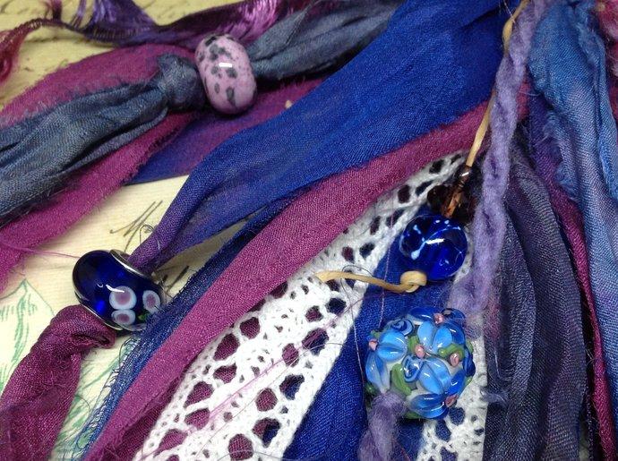 Boho Gypsy PURPLE & COBALT Beaded Purse Charm | Art Journal Charm | Planner