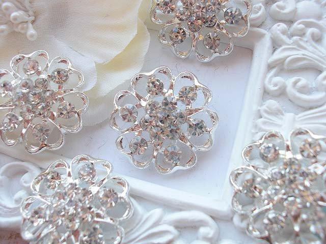 2 or 5 Rhinestone Buttons-24.8mm for sewing, diy headband supplies, diy wedding