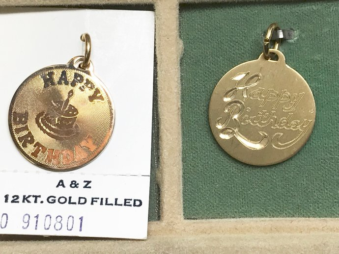 Vintage A&Z Hayward 12KT Gold Filled HAPPY BIRTHDAY Charm Pendants cc002
