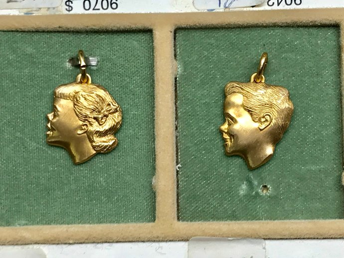 Vintage A&Z Hayward 12KT Gold Filled CAMEO Girl or Cameo Boy Charm Pendants