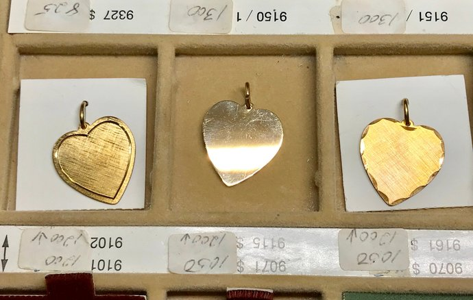 Vintage A&Z Hayward 12KT Gold Filled HEART Charm Pendants cc002