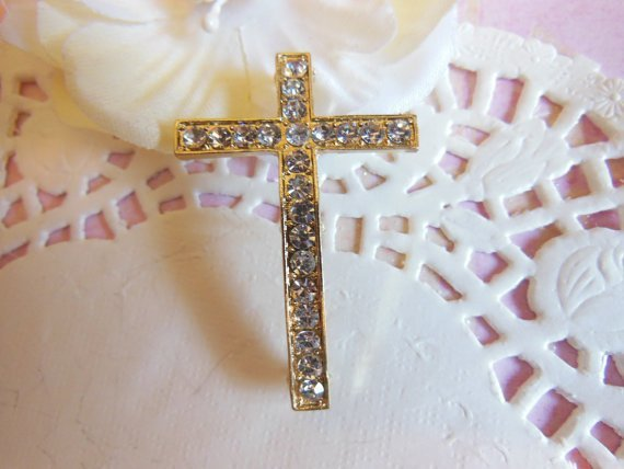 1 Fashion Cross Charm with gold setting for DIY Jewelry cc580
