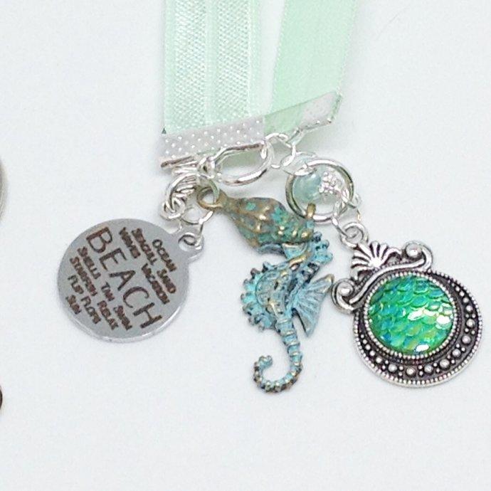 Sea Foam Mint Green BeachThemed Stretch Bookmark | Key Ring | Purse Charm |