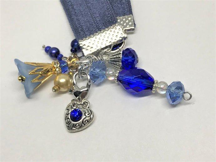 Cobalt Blue Stretch Bookmark   Key Ring   Purse Charm   Journal Girdle  