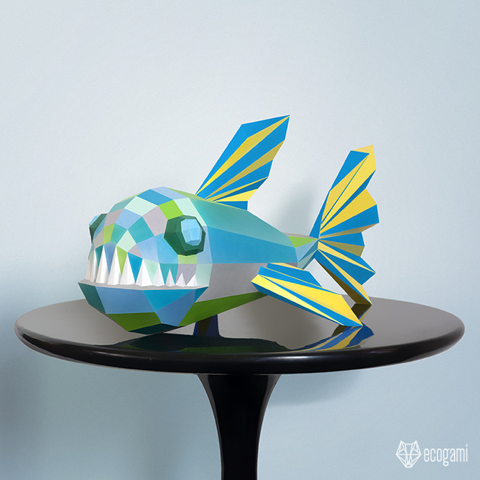 Make your own piranha / funny fish paper sculpture | 3D DIY papercraft sculpture