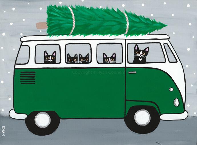 Bringing Home The Christmas Tree! Original Cat Folk Art Acrylic Painting