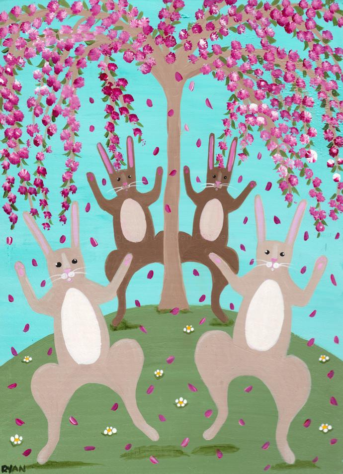 Rabbits Celebration of Spring Original Cat Folk Art Painting