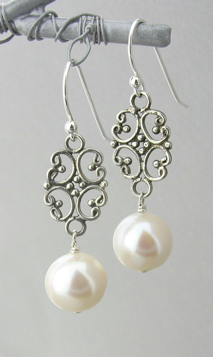 Filigree Pearl Drop Earrings - white freshwater pearl filigree drop sterling