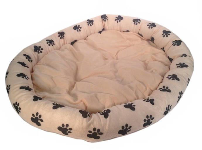 "Brand New PET BED Cushion 33"" x 28"" Peach/Pink w. Black Paw Prints Soft Cozy"