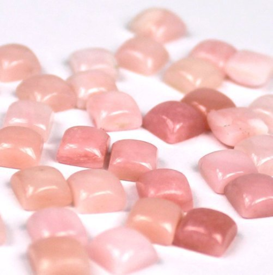 6 mm Pink Opal Square Cabochon - 5 pieces