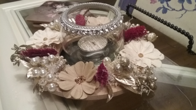 Candle Wreath Ring and Jeweled Candle Jar