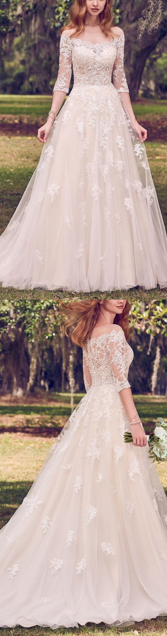 Gorgeous Lace White Wedding Dresses,Half Sleeves Appliques Tulle Bridal