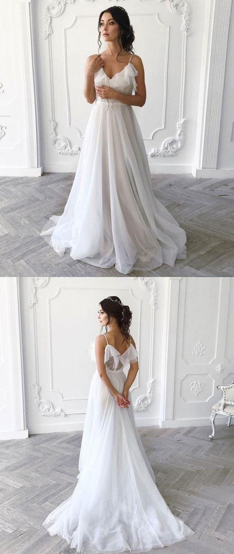 b345c0fec1a Simple White Chiffon Bohemian Wedding Dress A Line Ruffle Beach Women Bridal