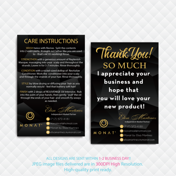 Monat Care Instruction Card, Monat Monat Hair Care Card, Monat Thank You Card,