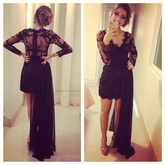 Chic Unique Black Long Sleeves V Neck Lace Prom Dress, Special Hi-lo Prom Dress