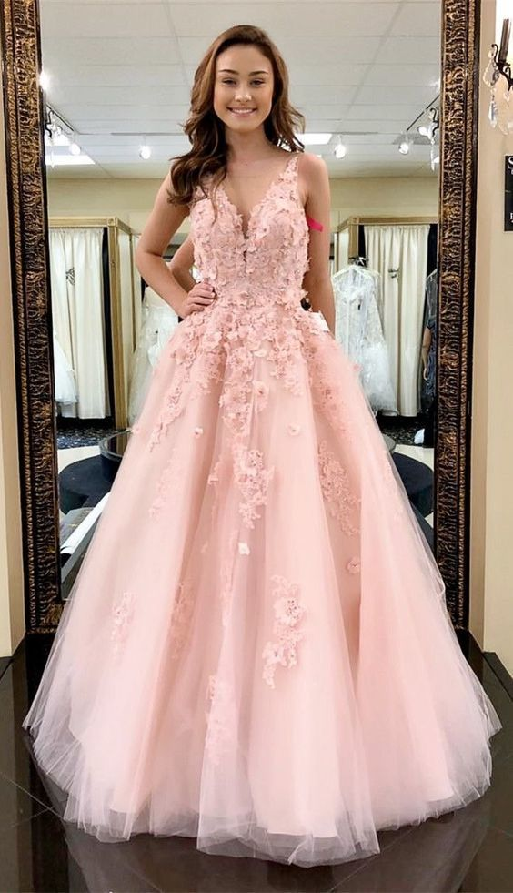 Beautiful Prom Dresses Straps V-neck A-line Pink Long Lace Prom Dress