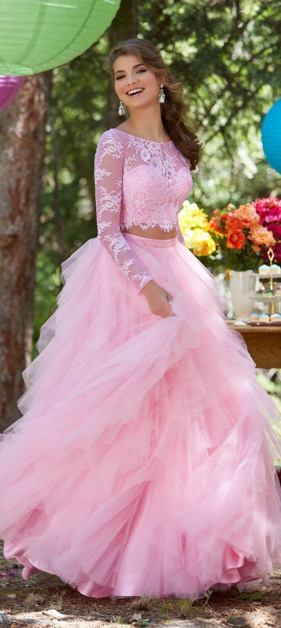 1b8f92d7bdbe5 Gorgeous Cute Two Piece Long Sleeves Prom Dress, Pink Lace Tulle Round Neck  Prom