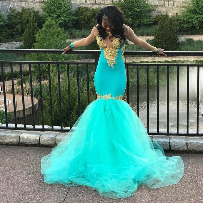 Sheer Long Sleeves Sage Mermaid Prom Dress with Appliques