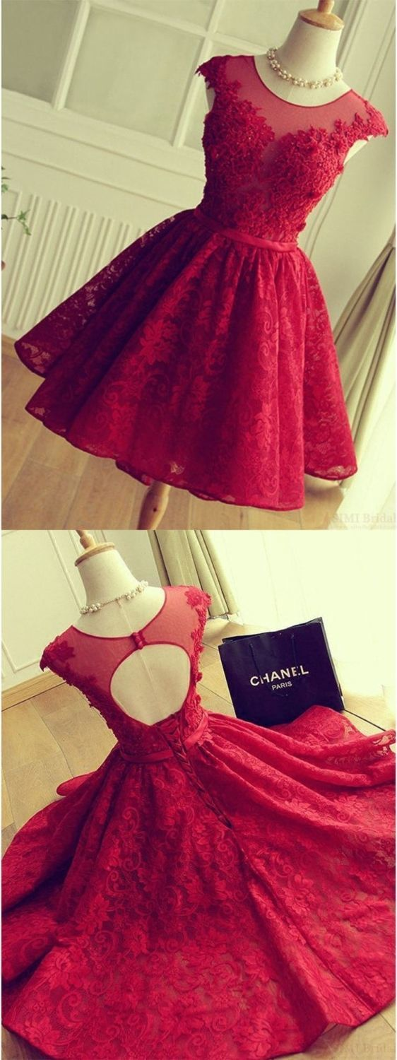 A-Line Crew Cap Sleeves Red Lace Homecoming Dress with Appliques BD2173