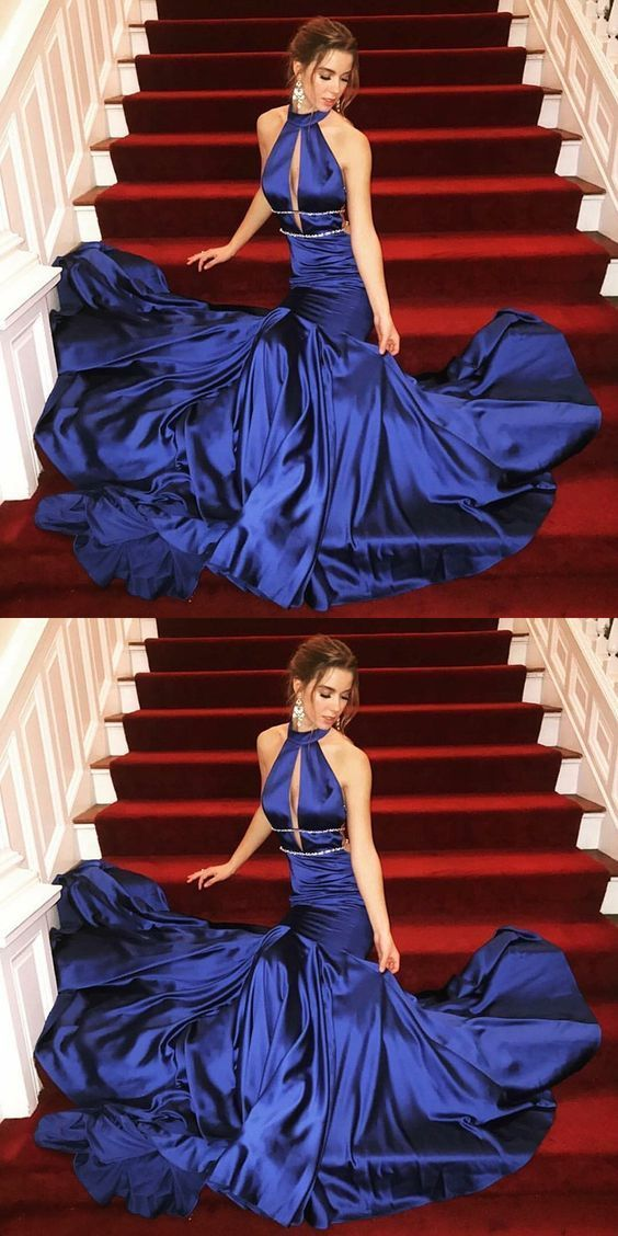 Mermaid High Neck Sweep Train Royal Blue Prom Dress with Keyhole  BD2174